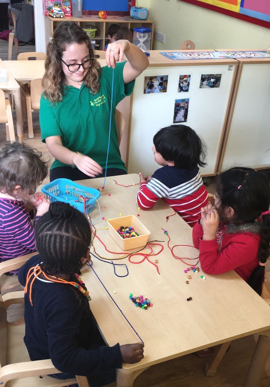 Children learning fine motor skills