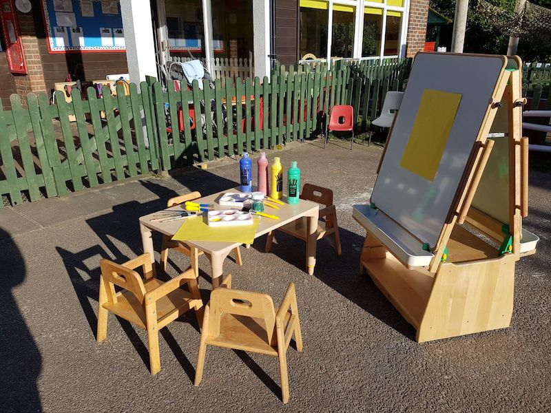 Art easel outside